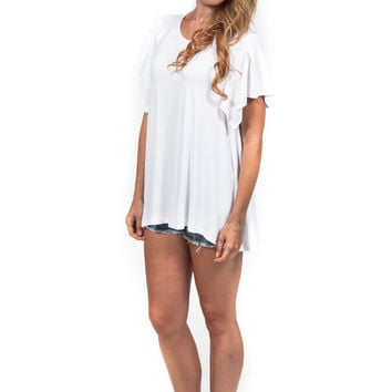 White Flutter Sleeve Top