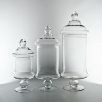 """Glass Cylinder Candy Jars, 12"""",15""""19"""" Tall, with Lids. Wholesale Flowers and Supplies."""