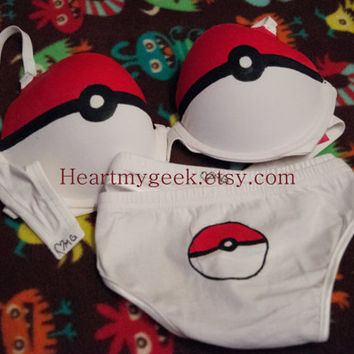 Pokebra and Panties Set  Tong or Hipster  Gotta by heartmygeek