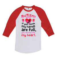 Autism Awareness T Shirt Autism Mom Shirt Puzzle Piece Autism Gifts For Mom Tops Support T Shirt American Apparel Unisex Raglan DN-448