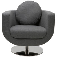 Simone Swivel Lounge Chair Light Grey Wool