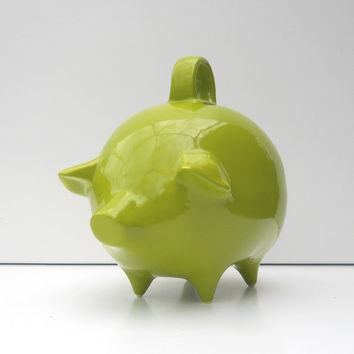 Mexican Piggy Bank Vintage Design in Apple Green Retro Mod Home