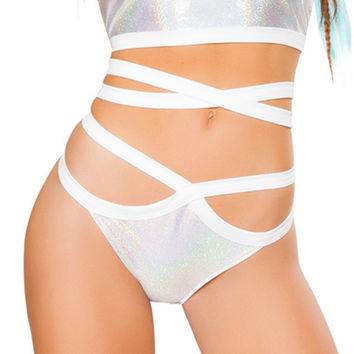 Holographic Wrap Booty Shorts