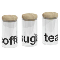 Loft Set of 3 Glass Canisters with Wooden Lids