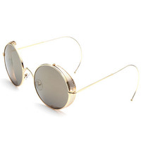 Retro Steampunk Goggles, Outdoor Hipster Round Metal Reflective Mirror Shades