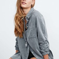 BDG Relaxed Boyfriend Carbon Shirt - Urban Outfitters