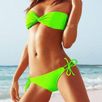 Lime Bandeau Top Side-tie Bottom Swimsuit