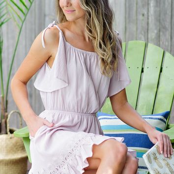 * Delilah OTS Dress w/ Butterfly Sleeves : Blush