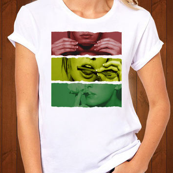 tee shirt Rasta smoke girl  t-shirt is made 100% cotton, high-quality by sengserikyo