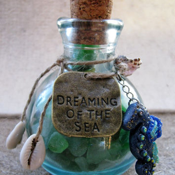 Vintage old apothecary bottle filled with genuine colourful mixture of sea glass-seahorse charm-sea glass art-vintage bottle with sea glass.