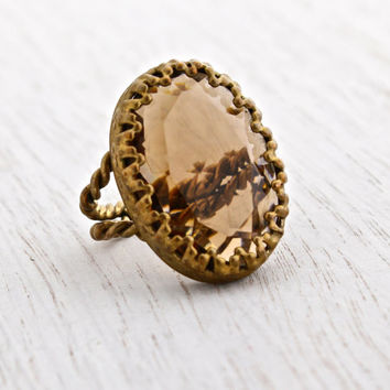 Vintage Brown Stone Ring -  Adjustable Brass West Germany Wire Wrapped Costume Jewelry / Faceted Amber Oval