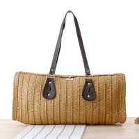 Ladies Hand-woven Shopping Beach Basket Fully Lined Straw Bag / Satchel Bag Tote