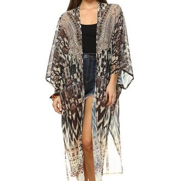 Swarovski Embellished Reiva Silk Kaftan Cover-up