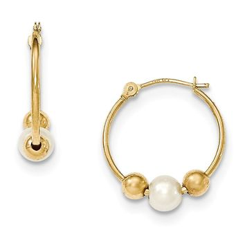 14k Yellow Gold Hoop with Freshwater Cultured Pearl Earring