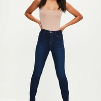 Missguided - Dark Blue Lawless High Waisted Skinny Jeans
