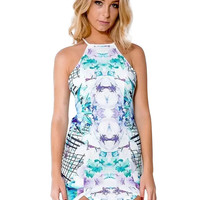 Halter Zipped Cross Back  Printed Bodycon Mini Dress