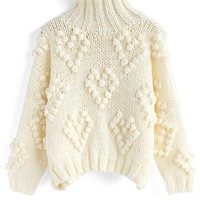 Knit Your Love Turtleneck Sweater in Ivory