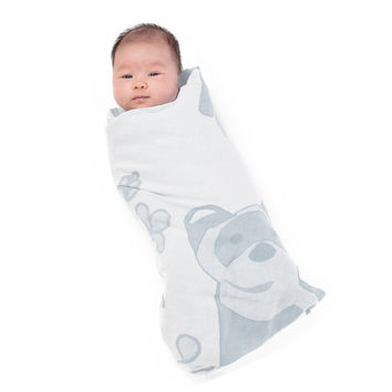 Organic Muslin Swaddle Set - Grey Ferret