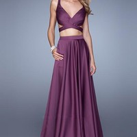 La Femme 21178 Two Piece Satin Long Eggplant Prom Dress