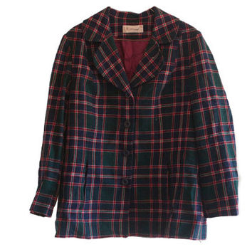 VINTAGE PENDLETON 100% Wool Tartan Blazer Jacket With 2 Hip pockets