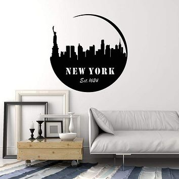Vinyl Wall Decal New York City Silhouette State USA Statue of Liberty Stickers Mural (ig5356)