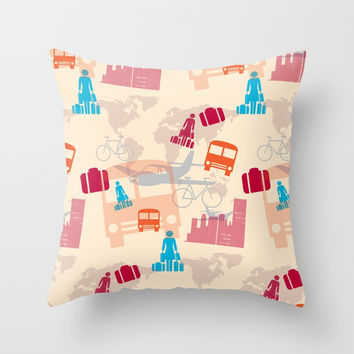 Travel Fever Throw Pillow by Mirimo