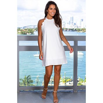 Ivory Scalloped Short Dress with Tie Back