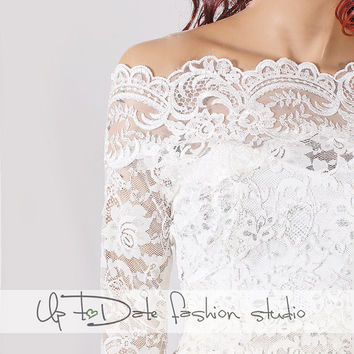 Plus Size lace bolero Bridal  Off-Shoulder / Lace wedding jacket/ jacket / lace top/cover up