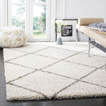 Safavieh Hudson Diamond Shag Ivory/ Grey Rug (9' x 12') | Overstock.com Shopping - The Best Deals on 7x9 - 10x14 Rugs