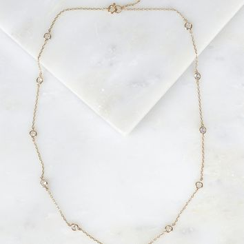 Dainty Crystal Studded Necklace Gold