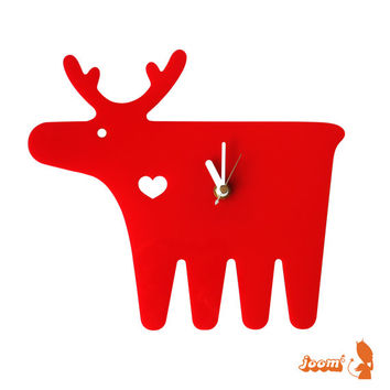 Red Moose Wall Hanging Clock