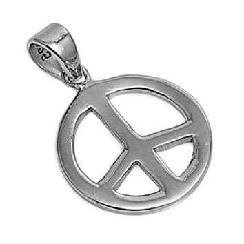 Sterling Silver Peace Sign Symbol pendant