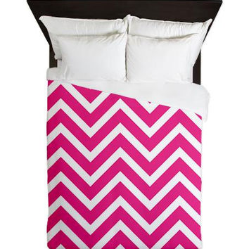 Duvet Cover - Fuchsia Chevron Duvet Cover - Glamour Decor - Fashion Decor - Dorm Decor - Teen Room Decor - Girls Room - Dorm Bedding