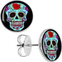 Blue Sugar Skull Stud Earrings