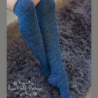 Mixed Knit Boot Socks - Turquoise