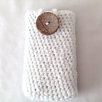 Crocheted white phone case iPhone smartphone blackberry Samsung anniversary gift custom made