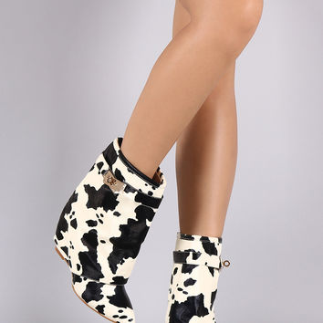 Cow Print Twist-Lock Fold Down Shaft Wedge Booties