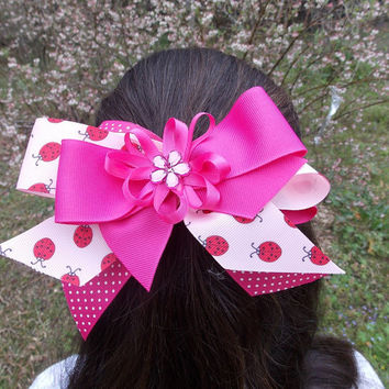 Girls Hair Bow,pink,  Stacked, ladybugs, polka dots, rhinestone