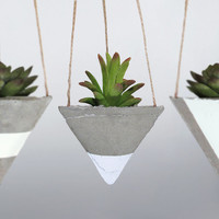 Air Planter, Concrete Planter, Succulent Planter, Air Plant Holder, Hanging Planter, Mini Planter, Unique Planter, White Planter - Set of 3