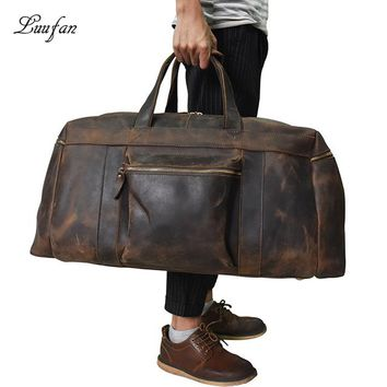 Vintage Genuine leather Men Travel bag big capacity durable casual Crazy horse leather travel duffel male shoulder weekend bag