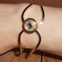 BULLET BRACELET accented with Brass Bullet with a Purple Swarovski Crystal - *Bullet Bling Jewelry - Federal 45 Auto - *Bangle Bracelet