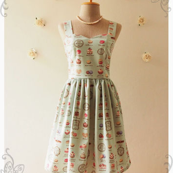 MACARON DRESS : Sweet lady cupcake bakery dress vintage inspired dress halter dress whimsical party dress summer dress green -Size xs-xl