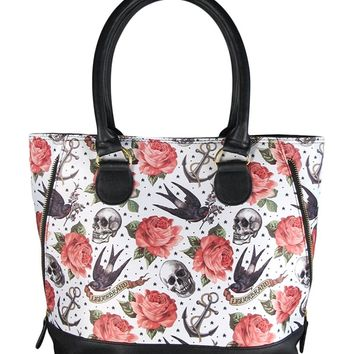 Liquorbrand Tattoo Pink Rose Swallows Skulls Expandable Zipper Shoulder Tote Bag