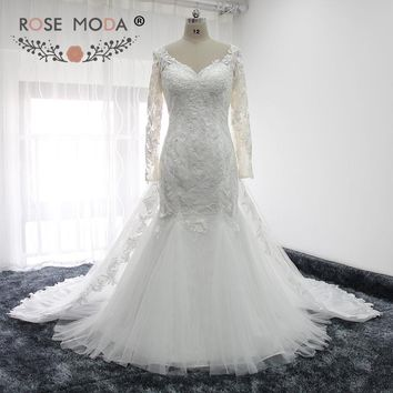 Rose Moda V Neck Long Sleeves Lace Mermaid Wedding Dress with Removable Train Illusion Back Muslim Wedding Gown