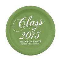 Modern Solid Green Graduation Paper Plates 7 Inch Paper Plate