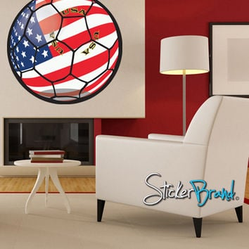 Graphic Wall Decal Sticker USA Football Soccer Ball #JH177