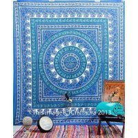 Handicrunch Blue Hippie Tapestry Wall Hanging Mandala Tapestries Wall Hanging Indian Wall Tapestries for Dorms, Bohemian Decor Queen Bedding, Large Tapestries Beach Blanket