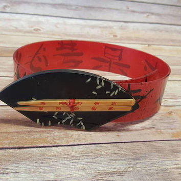 Vintage Kaso Waist Bracelet Belt - Chopsticks and Rice - Asian Inspired -  Red Black Acrylic - Snap Belt - New Wave - Glam Rock