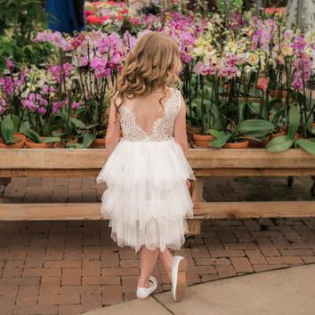 Blanche White Flower Bodice and Tulle Layers Dress