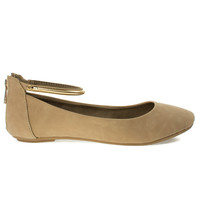 Chantel40M Natural By Bamboo, Round Toe Dress Flat w Oriental/Russian Print, Metal Ankle Strap